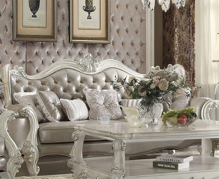 Vintage Gray Sofa w/ 7 Pillows