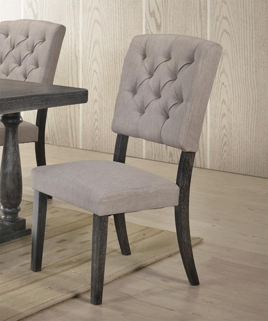 Weathered Gray Oak & Cream Linen Side Chair