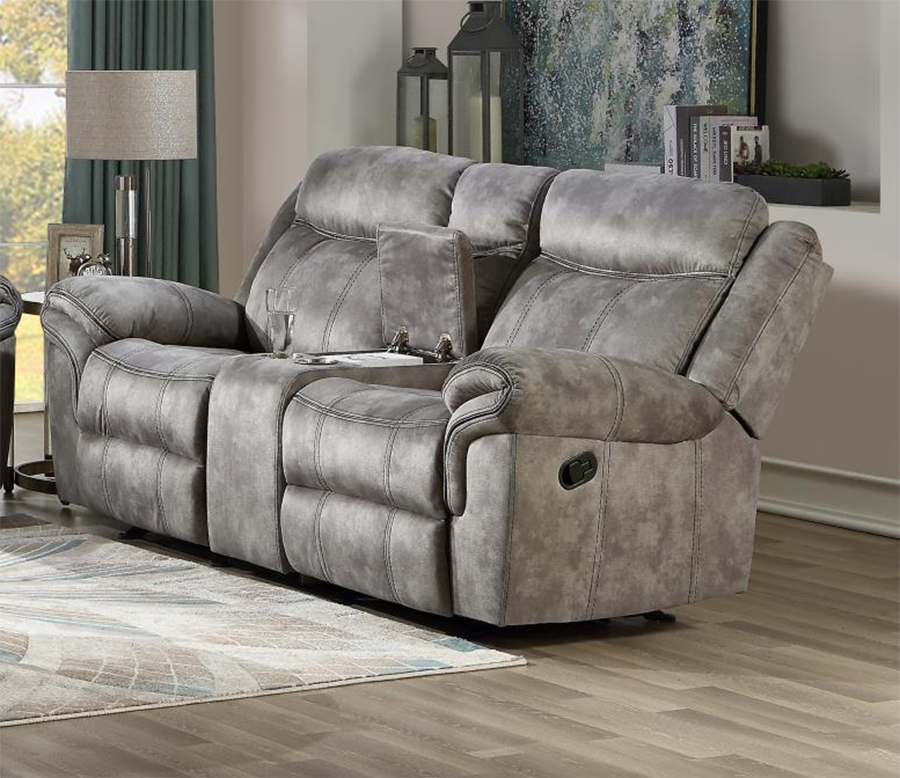 Two Tone Gray Reclining Loveseat