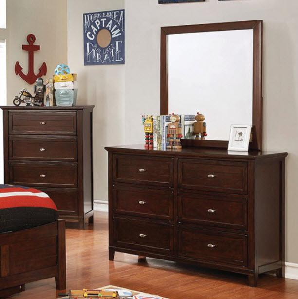 Brown Cherry Dresser W/Mirror