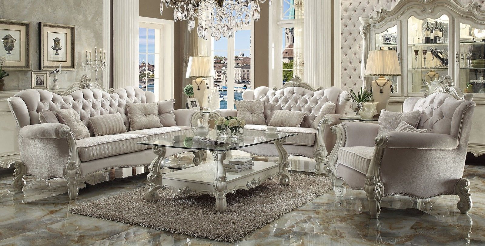 Complete Versailles Bone White Sofa Set