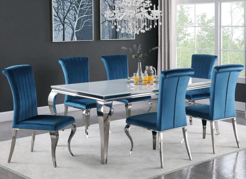 White Table W/Teal Chairs