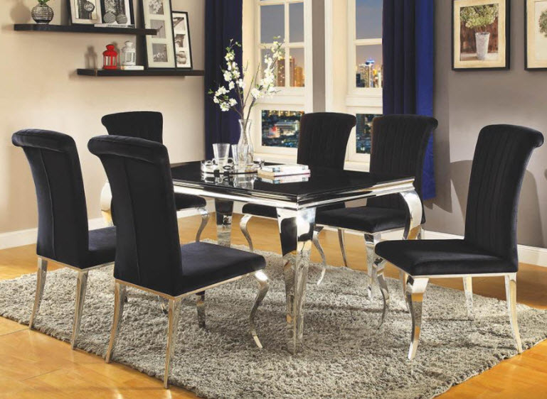 Black Table W/Black Chairs