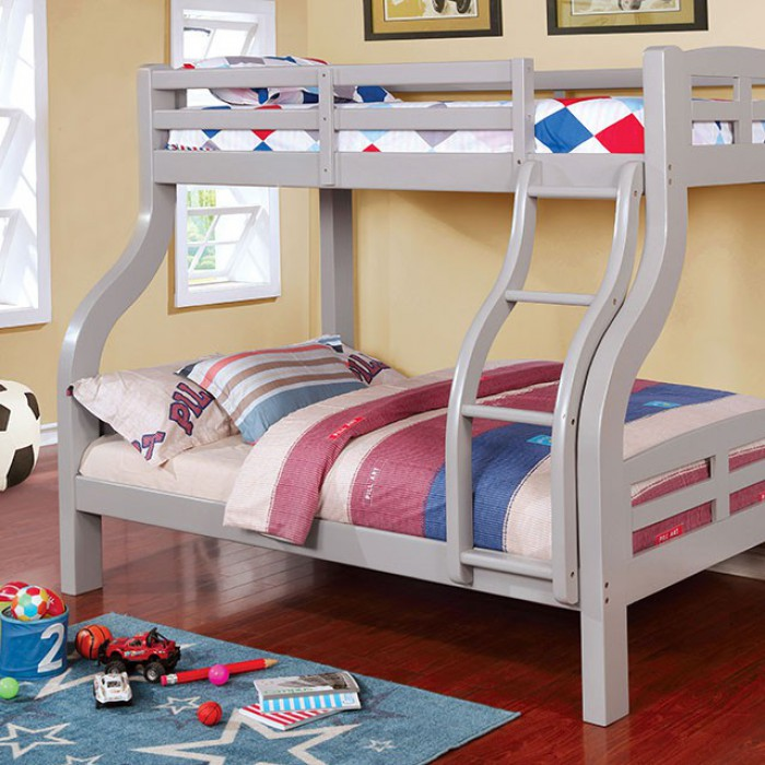 Gray Twin/Full Bunk Bed