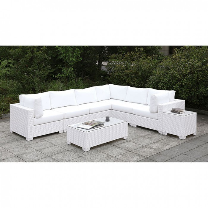 Complete Patio Large L-Sectional Sofa Set w/ Bench
