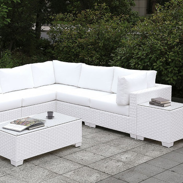 Patio Large L-Sectional Sofa Set w/ Bench Close Up