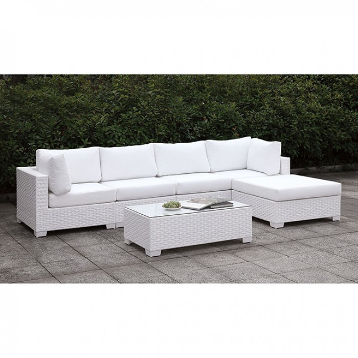 Complete Patio L-Sectional Sofa Set w/ Right Chaise and Coffee Table
