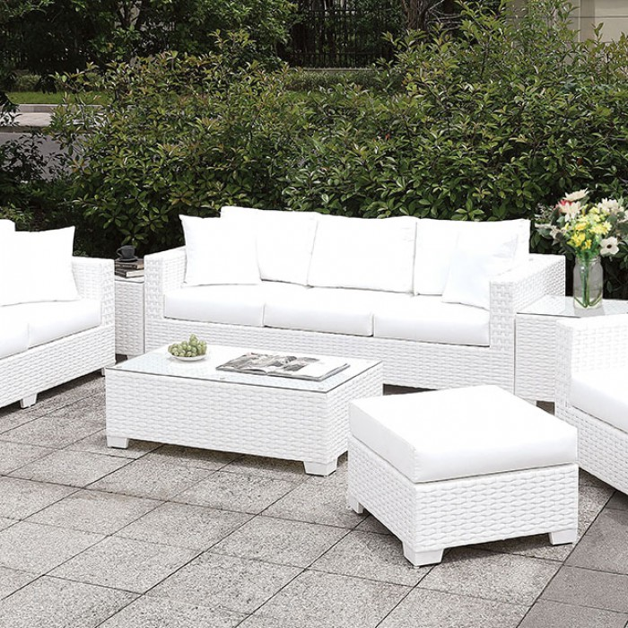 3 Piece Patio Sofa Set w/ Ottoman, Bench, and End Tables Close Up