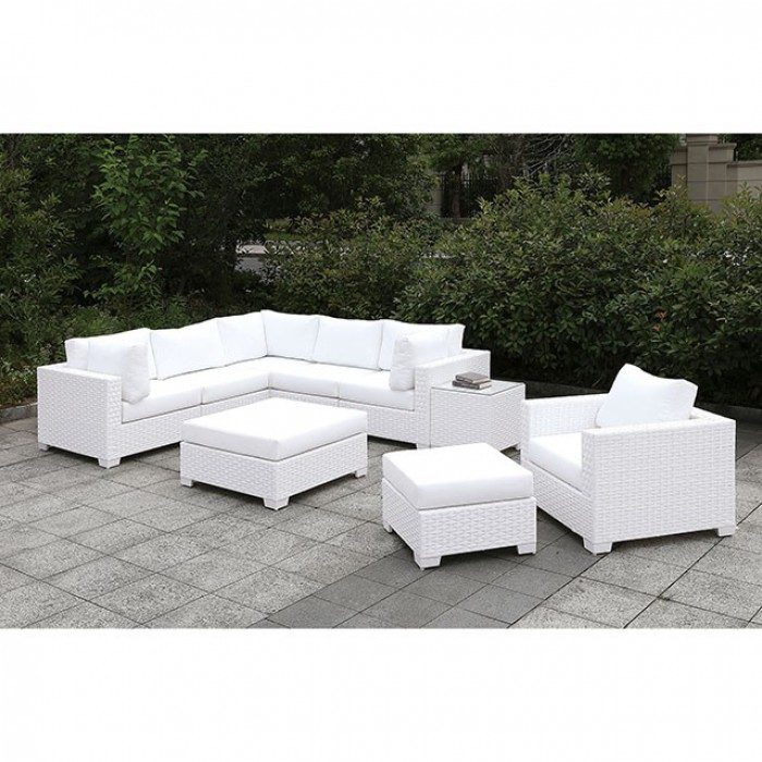 Complete Patio L-Sectional Sofa Set w/ Chair and Ottomans