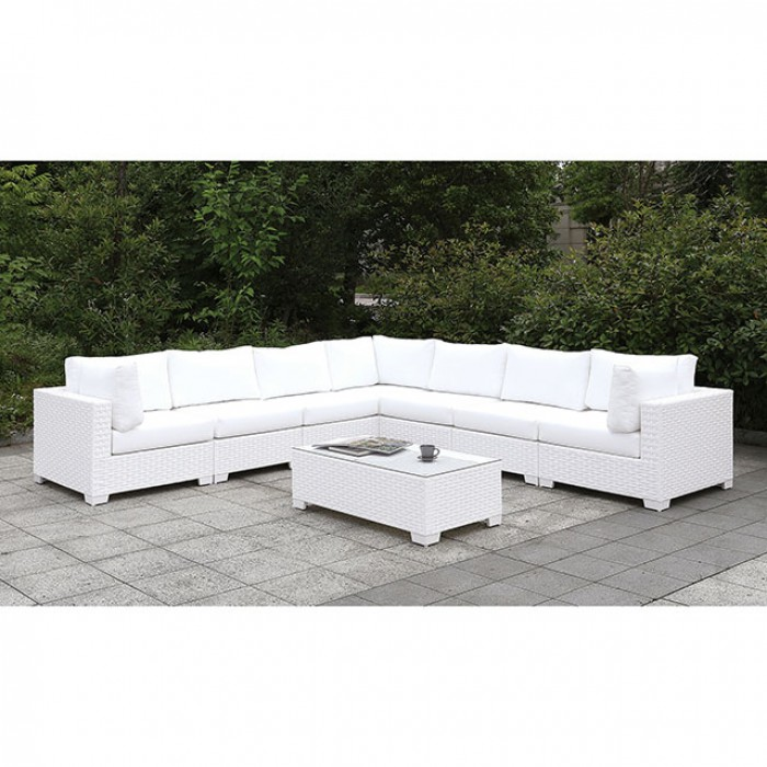 Complete Patio L-Sectional w/ Coffee Table Sofa Set
