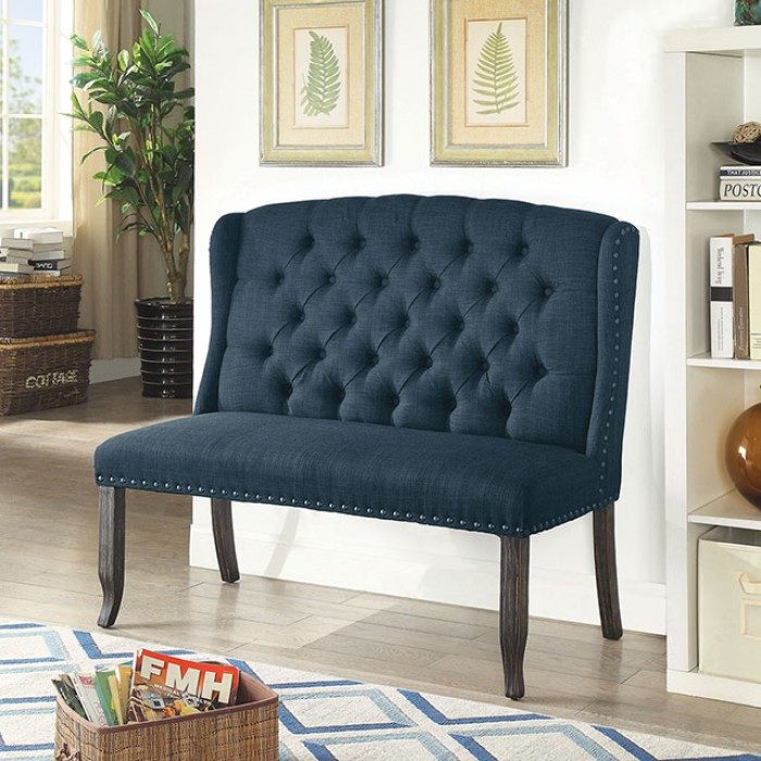 Blue 2-Seater Loveseat Bench