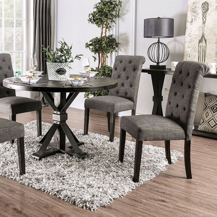 Complete Round Dining Table Set w/ Gray Side Chairs