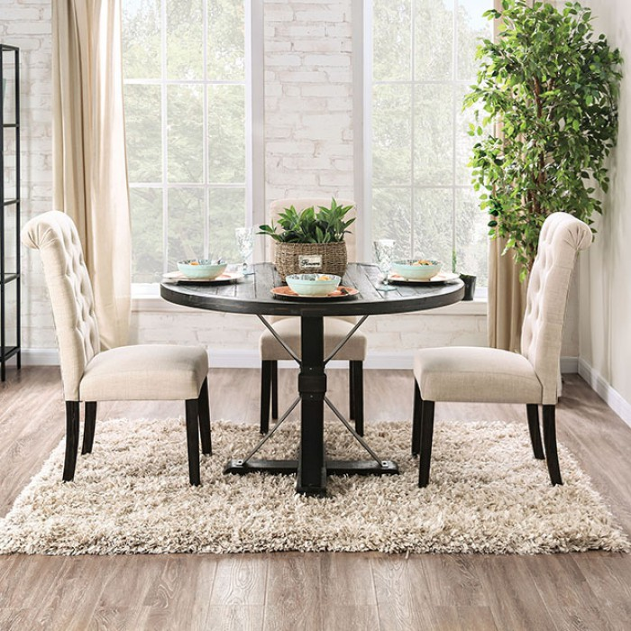 Complete Round Dining Table Set w/ Ivory Side Chairs