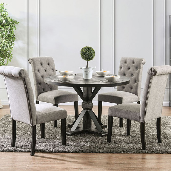Complete Round Dining Table Set w/ Light Gray Side Chairs