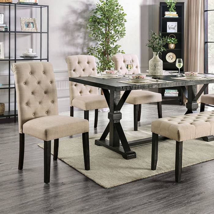 Complete Rectangular Dining Table Set w/ Ivory Side Chairs