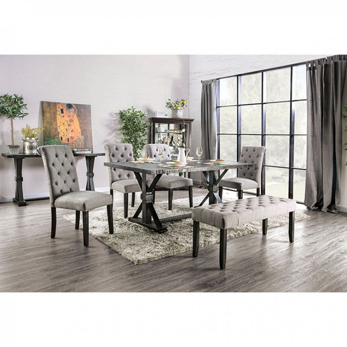 Complete Rectangular Dining Table Set w/ Light Gray Side Chairs