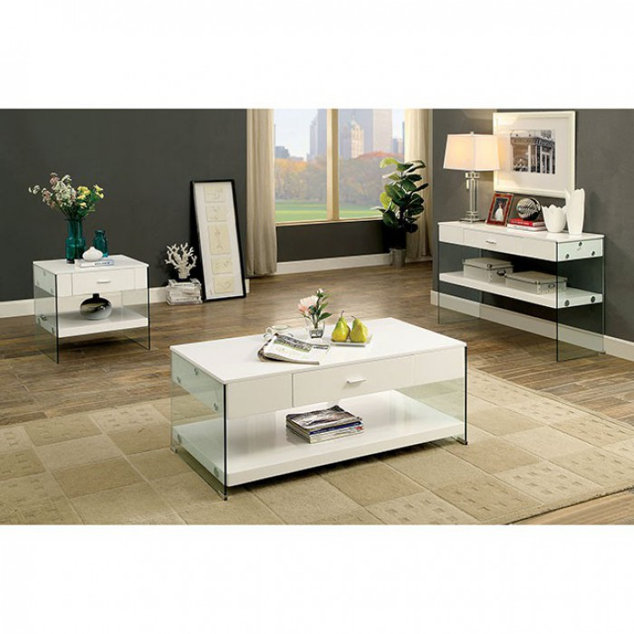 Raya Contemporary Coffee Table With Storage Drawer
