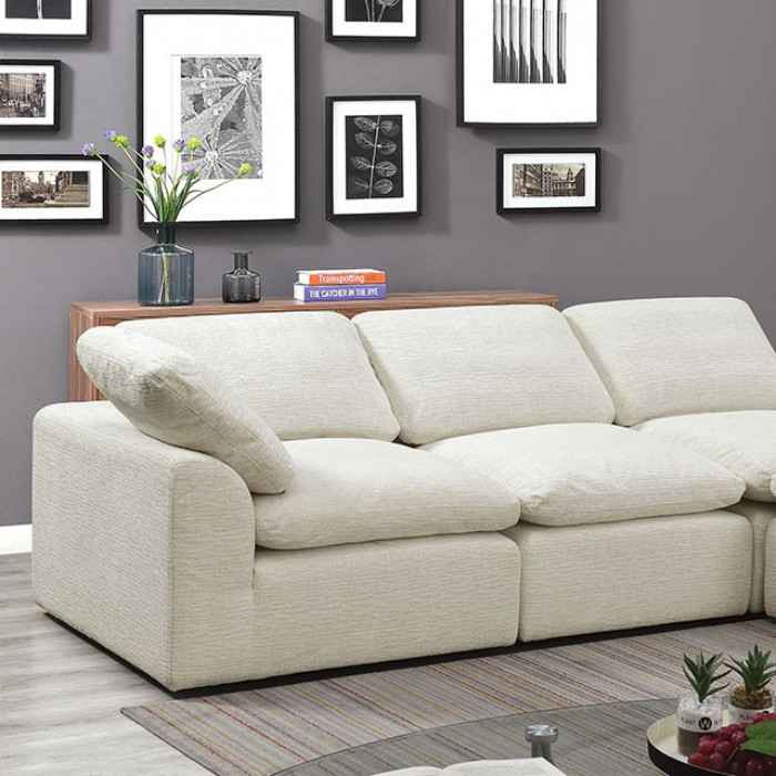 Cream 4 Piece Sectional Sofa Closer Look