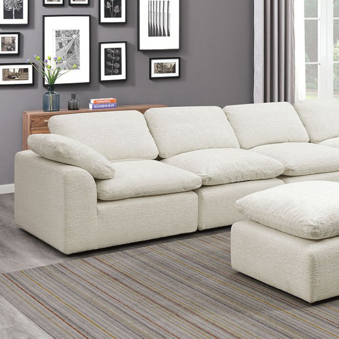 Cream 6 Piece Sectional Sofa Closer Look