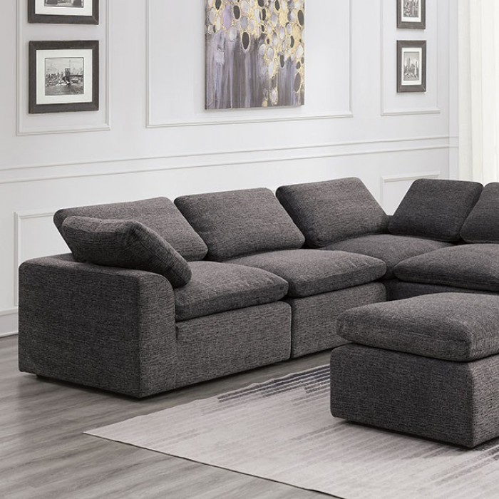 Gray 6 Piece Sectional Sofa Closer Look