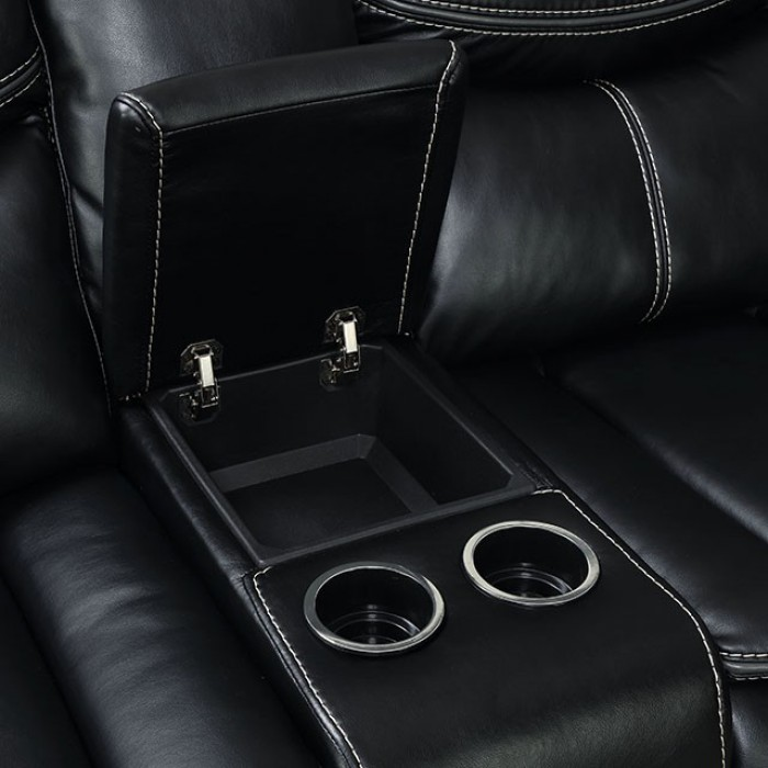 Black Middle Console w/ Storage and Cupholders