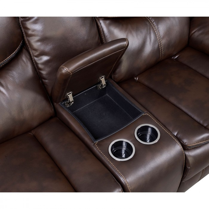 Brown Middle Console w/ Storage and Cupholders