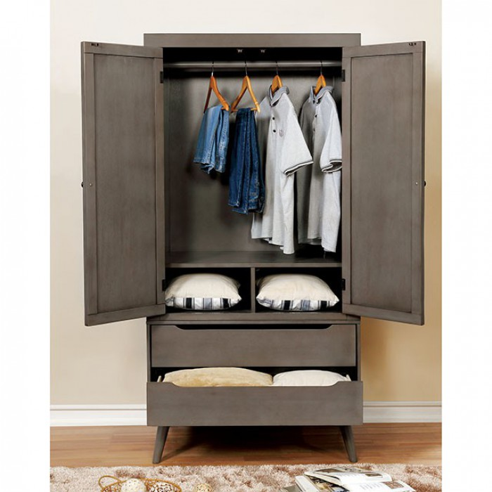 Gray Armoire Opened
