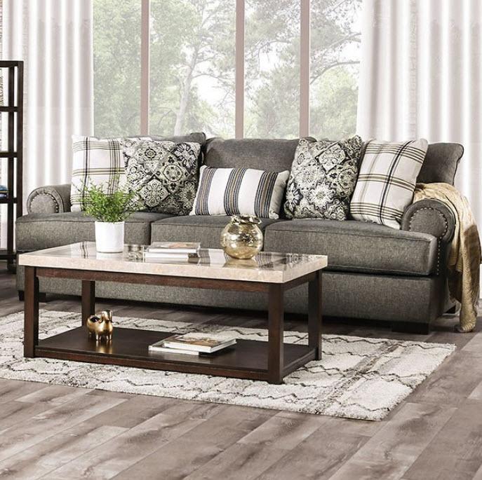 Granite/Navy/Gold Sofa