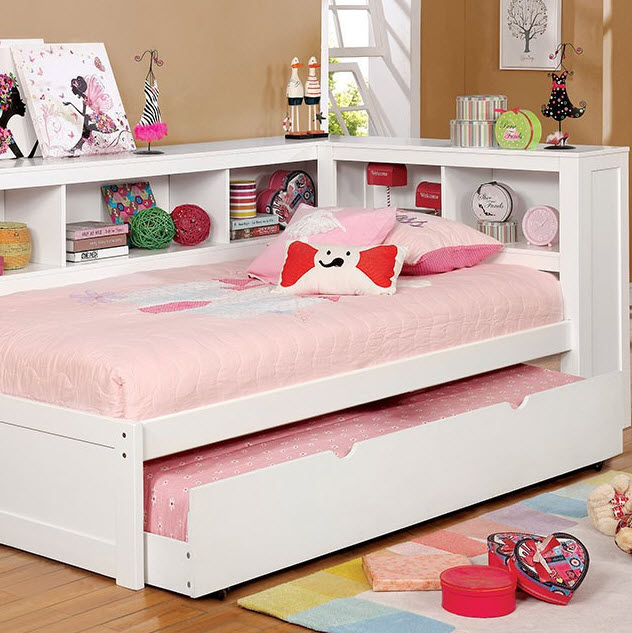 White Bed W/Trundle