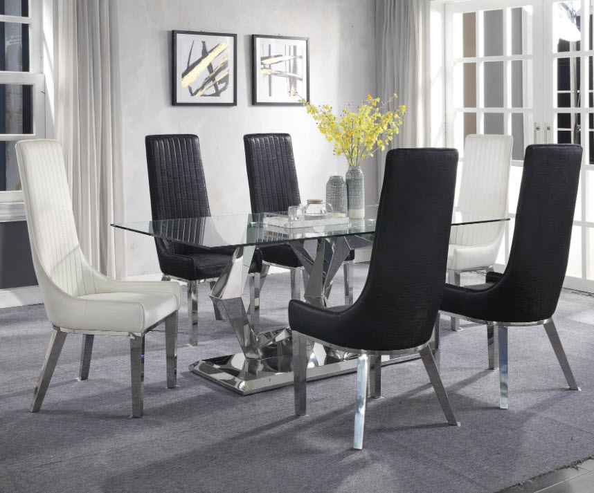 Table W/Black & White Chairs
