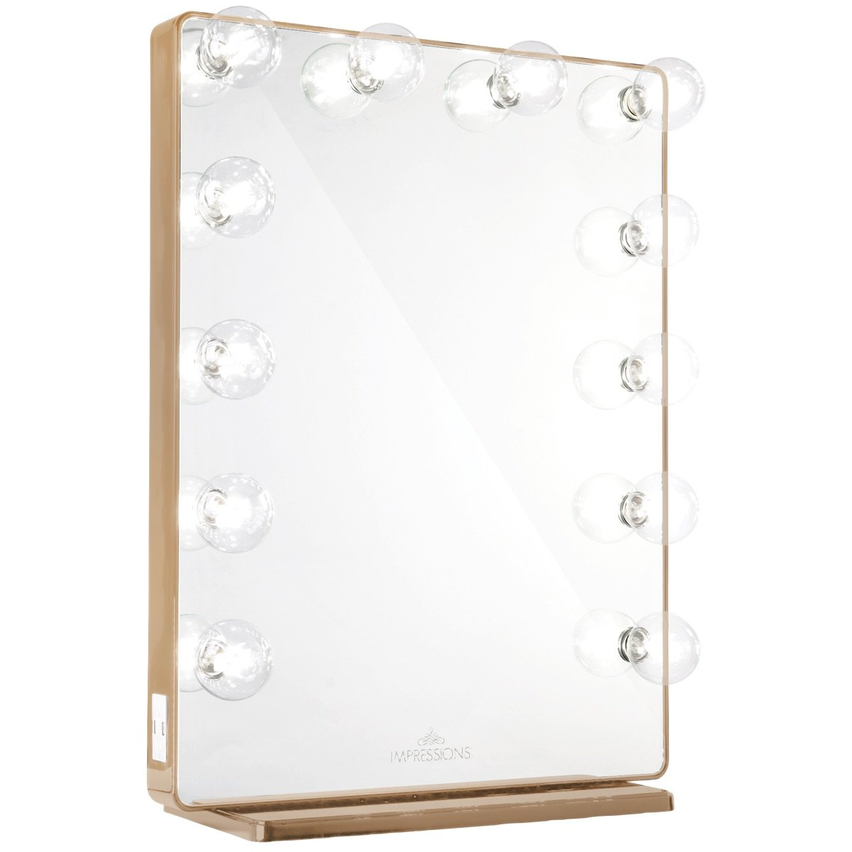 Champagne Gold Vanity Mirror w/ Clear LED Light Bulbs