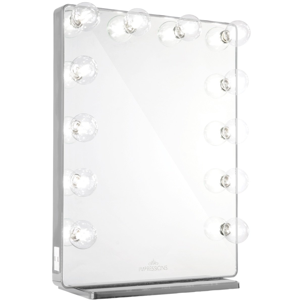 Shimmery Silver Vanity Mirror w/ Clear LED Light Bulbs