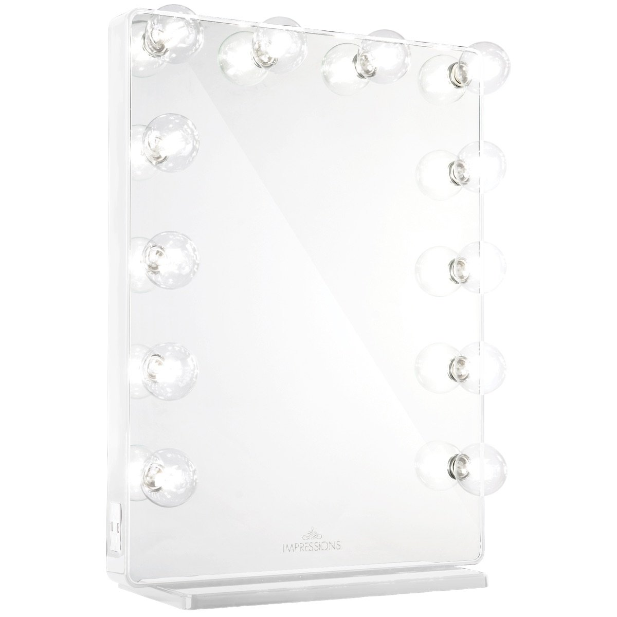 White Vanity Mirror w/ Clear LED Light Bulbs