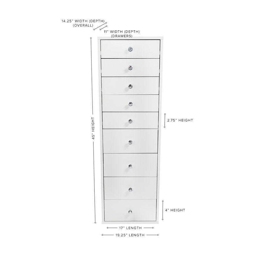 9-Drawer Makeup Vanity Storage Unit Dimensions