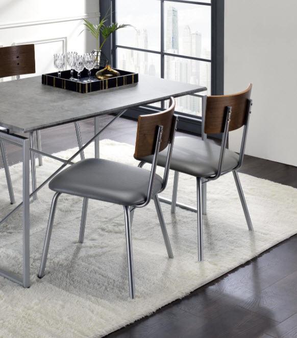Faux Concrete & Silver Chair