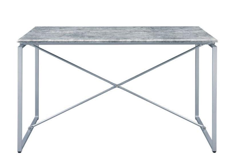 Faux Concrete & Silver Table