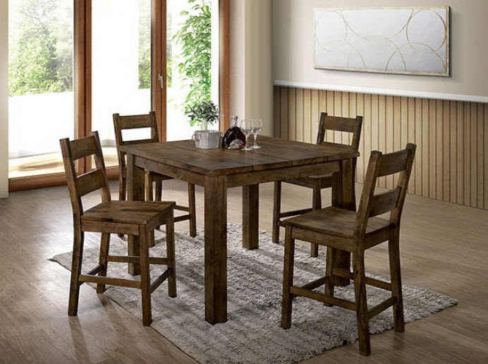 Kristen Rustic Oak Counter Height Dining Table