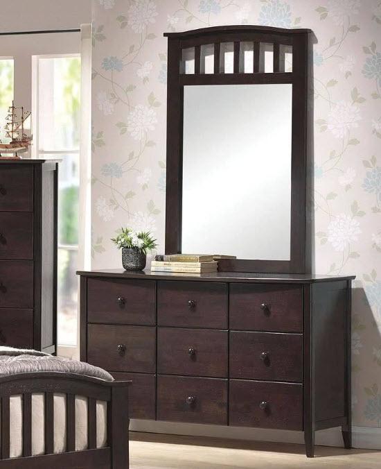 Dark Walnut Dresser W/Mirror