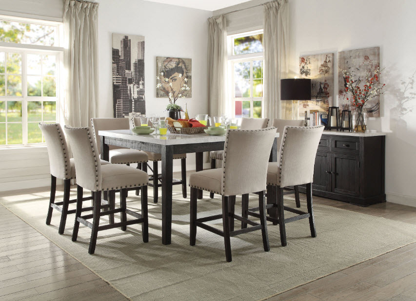 Nolan White Marble Top Counter Height Dining Table