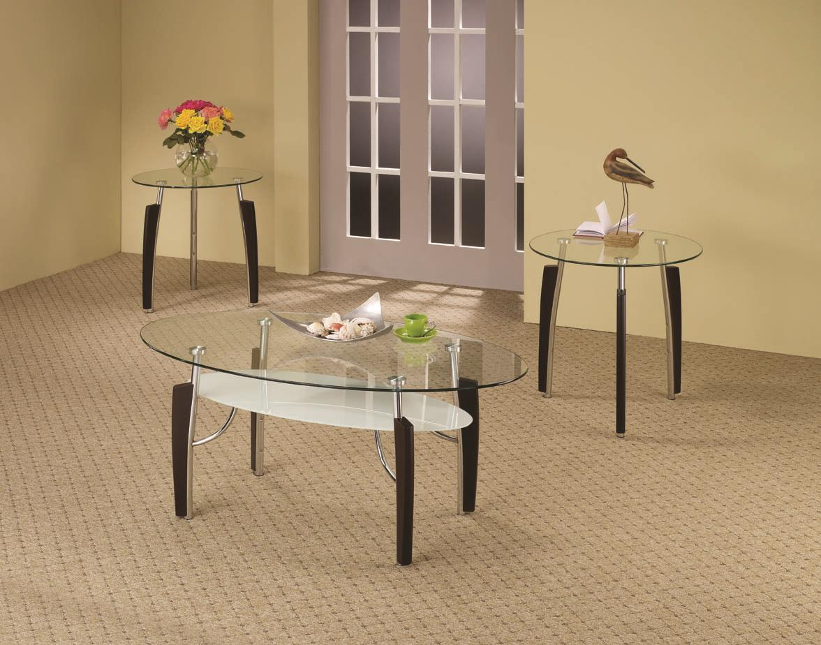 - 3-Piece Contemporary Round Coffee & End Table Set