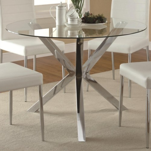 Vance Contemporary Glass Top Dining Table With Unique Chrome Base
