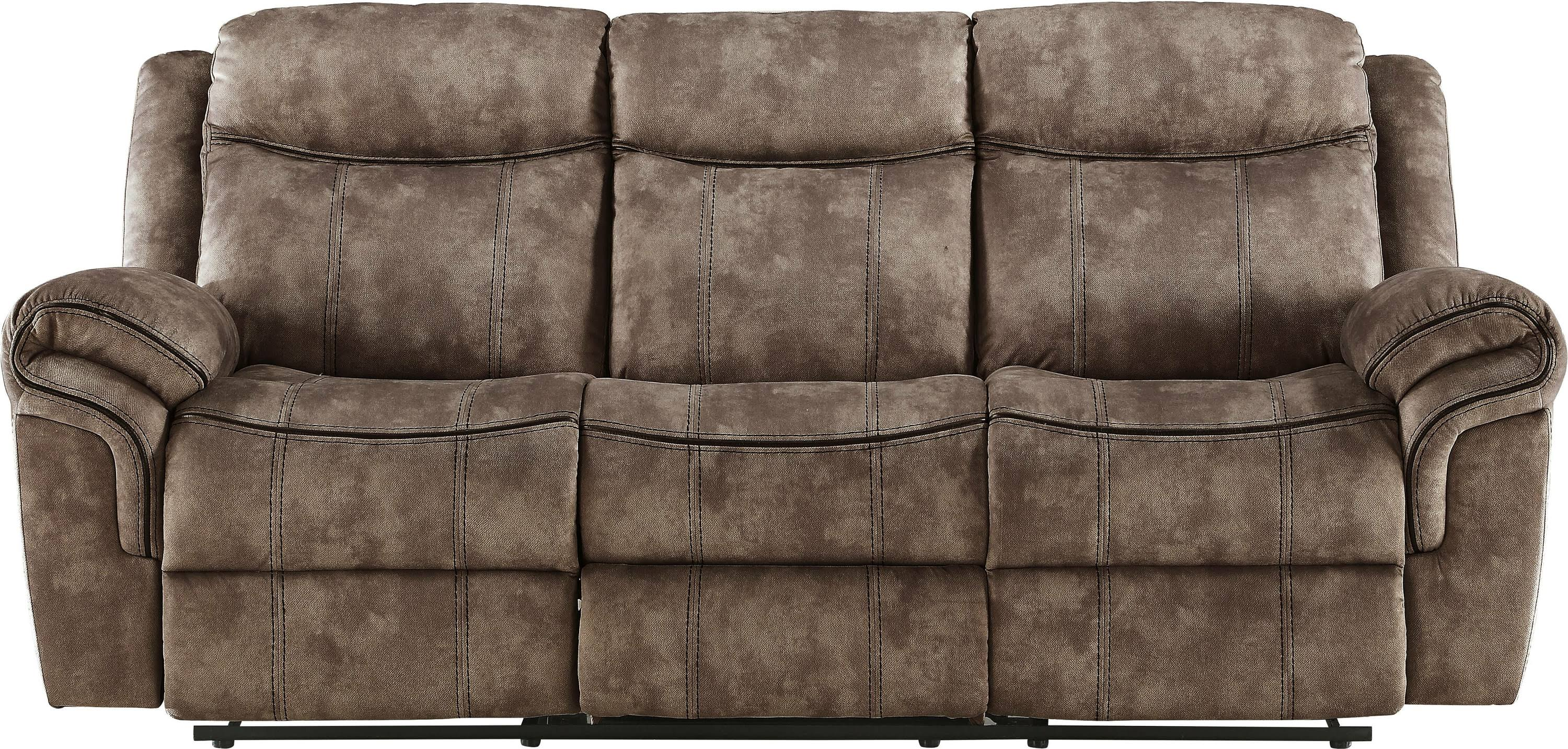 Two Tone Chocolate Reclining Sofa Front