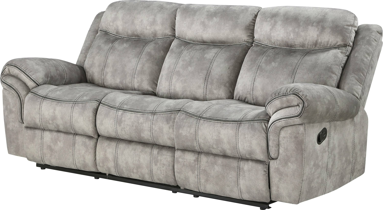 Two Tone Gray Reclining Sofa Angle