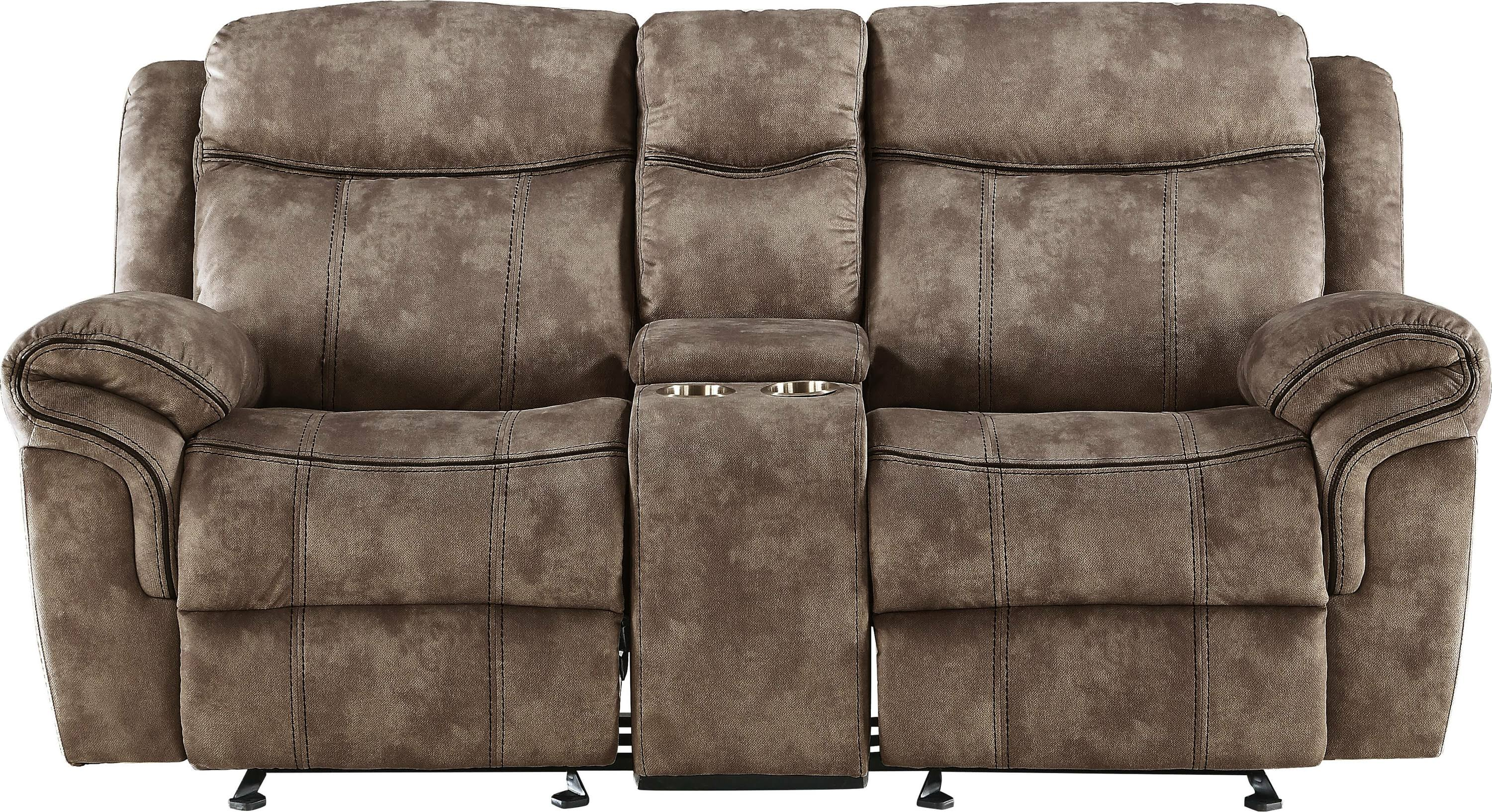 Two Tone Chocolate Reclining Loveseat Front