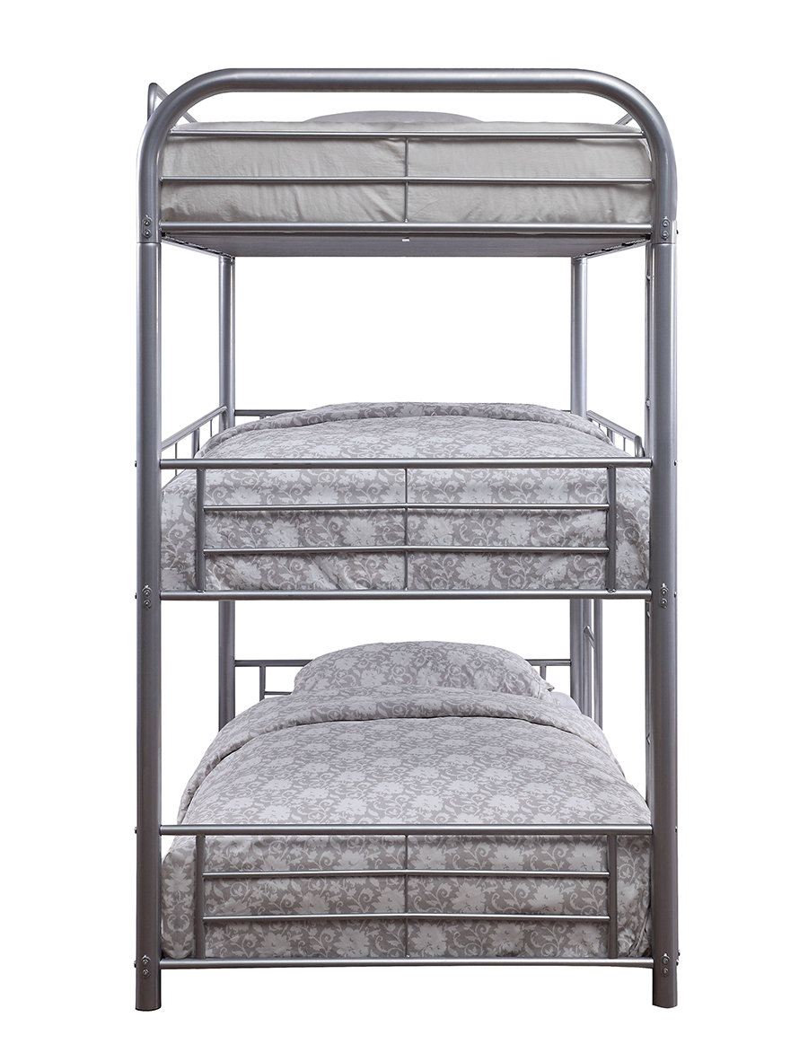 Silver Triple Metal Bunk Bed Side