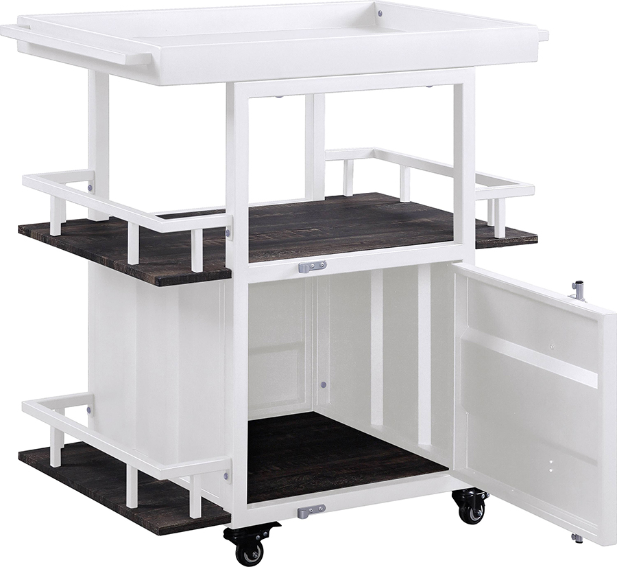 White Serving Cart Angle w/ Door Open