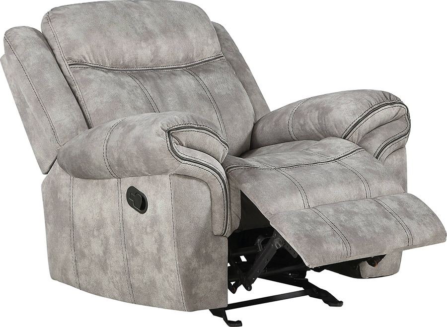 Two Tone Gray Glider Recliner Angle