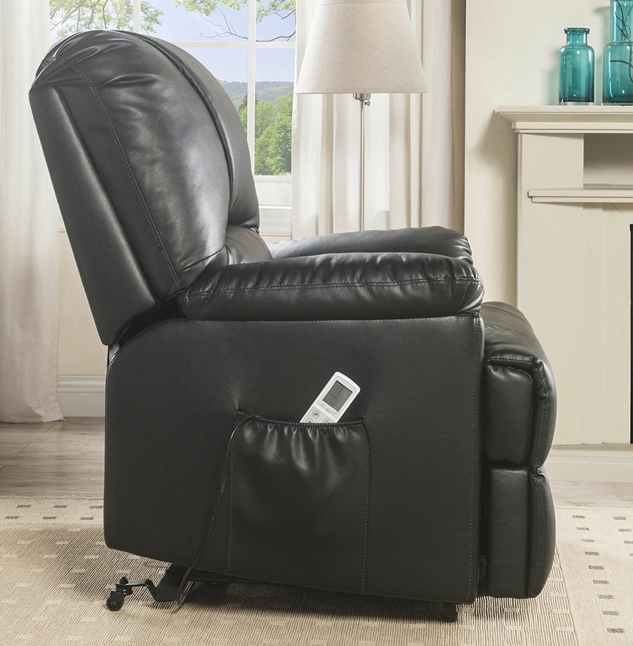 Black Power Lift Recliner Side w/ Massage Controller