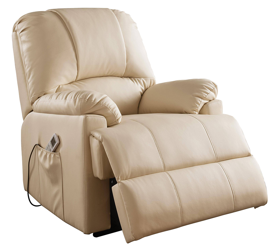 Beige Power Lift Recliner Angle