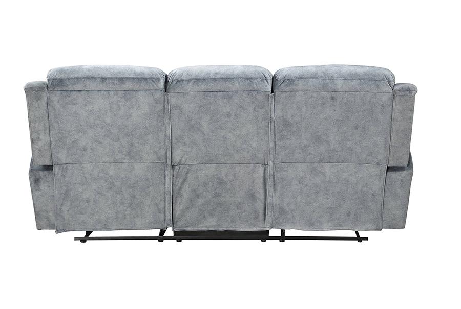 Silver Gray Fabric Reclining Sofa Back